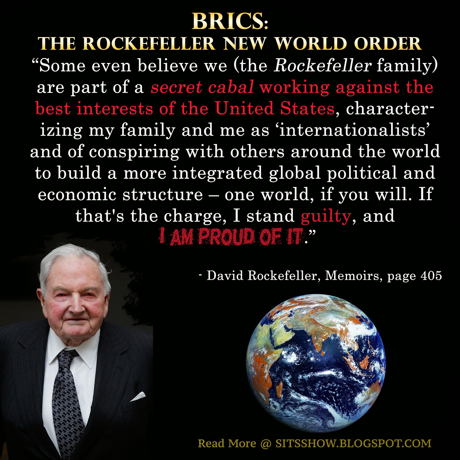 BRICS CHINA & ROCKEFELLER New World ORDER to be IMPLEMENTED 1 OCT 2016, SO NOW WE ALL KNOW WHO HAS BEEN PULLING THE STRINGS EVERY WHERE in the WORLD. BRICSRockefeller