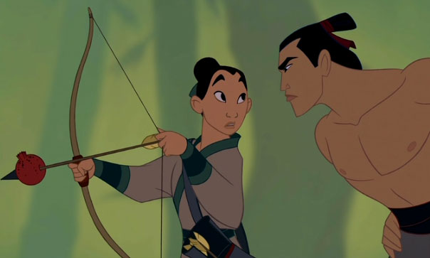 Mulan (Ming-Na Wen) and Li Shang (BD Wong) in Disney's Mulan