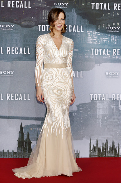 Kate Beckinsale in a beautiful cream gown at the Berlin premiere of her movie, 'Total Recall', held at the Sony Center in Berlin, Germany.