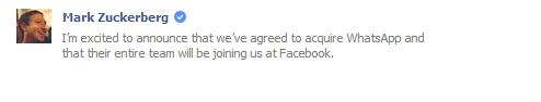 Facebook to Acquired WhatsApp Said Mark Zuckerberg on Facebook