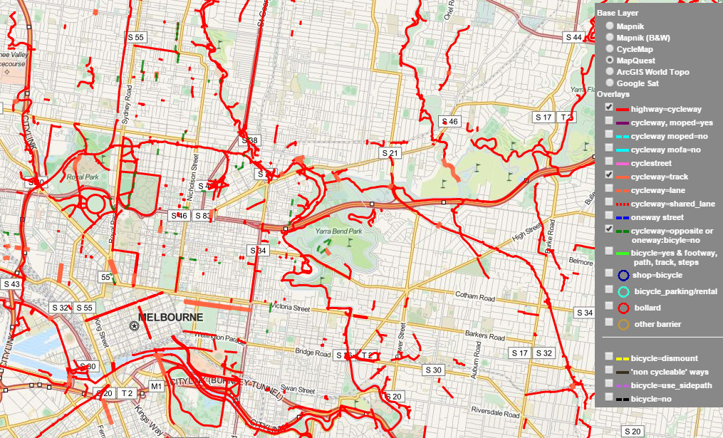 Melbourne Map Of Key Cycling Transport Routes Infrastructure And - Us 36 bike path map