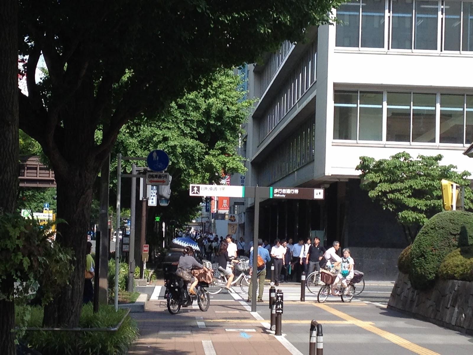 Biking to work along the bike-pedestrian lane at Kawasaki, Kanagawa