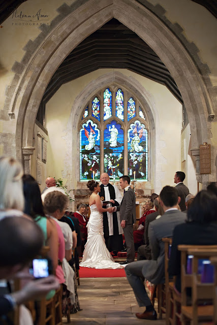 bride and groom saying their vows at Saint Leonards Bursledon wedding