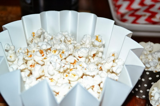 popcorn in white star bowl