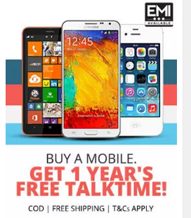 Buy a mobile at Paytm and get free talktime for 1 year