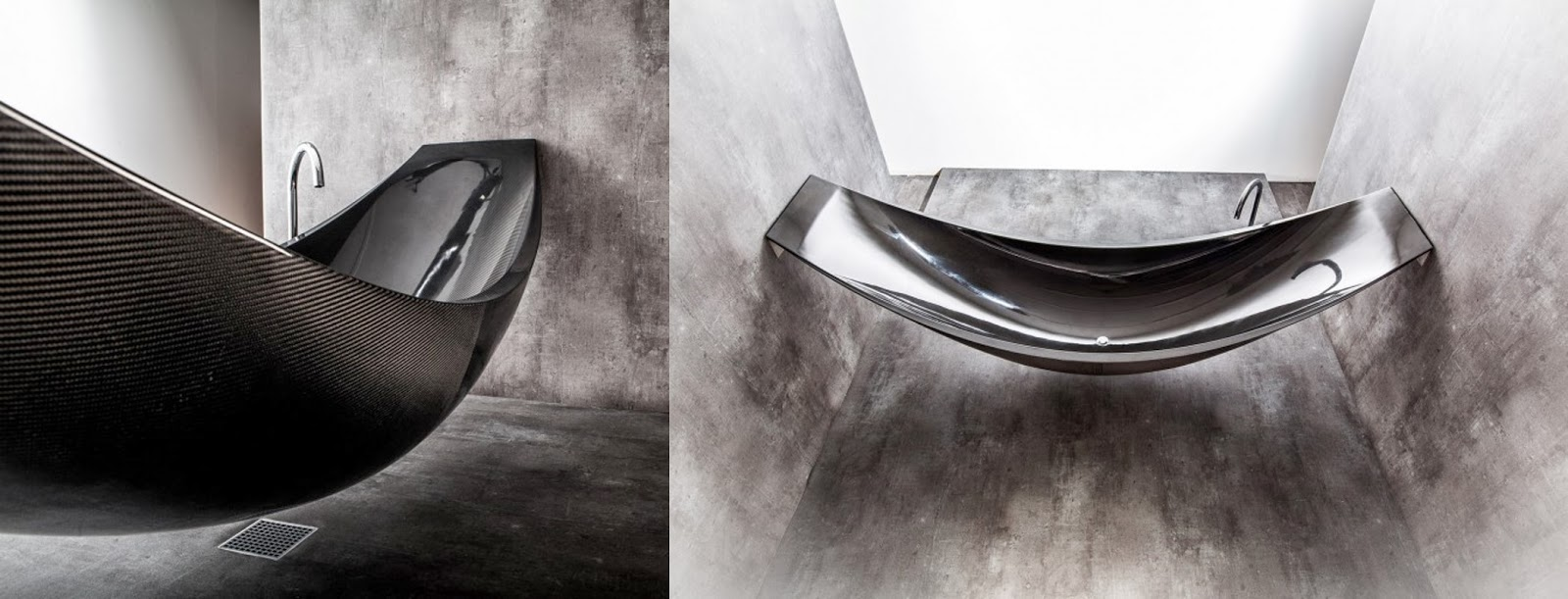 Vessel Hammock Bathtub By Splinter Design In Living Spaces - Hammock shaped bath tub