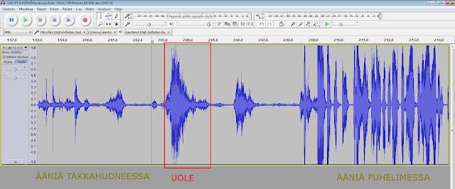 Kuva: Ulvilan hätäpuhelu 1.12.2006 spektrogrammi äänen voimakkuudesta