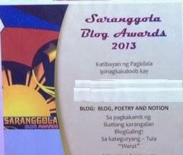2013 Saranggola Blog Awards - Ikatlong Karangalan sa Kategoryang Tula