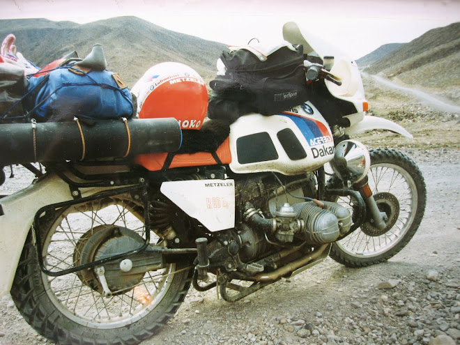 R 80 GS to Cabo.  My shock folded, locking up the wheel.  Adventure!