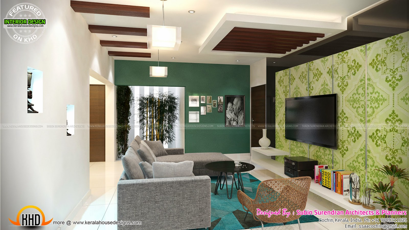 Tv room living bedroom kitchen interior kerala home for Living room designs in kerala