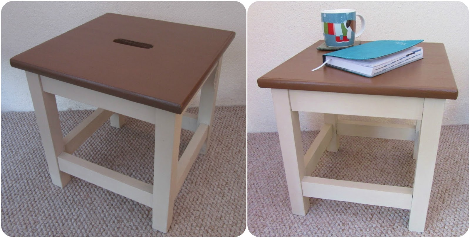 Two photos of painted and restored stool