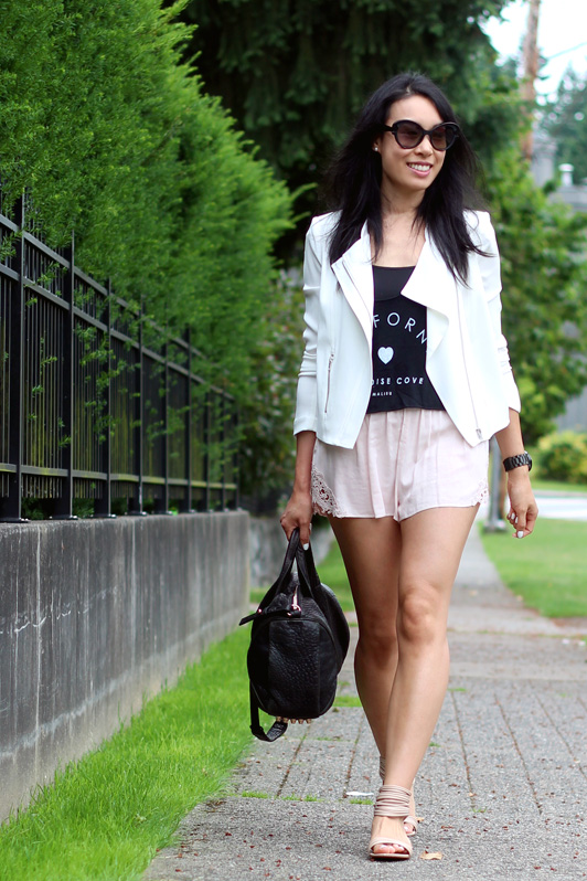 Alexander Wang Rose Gold Rocco, Kelsey Dagger sandals, Talula Roxie shorts, Aritzia, Babaton Dominic jacket, Brandy Melville, Prada baroque sunglasses, Nixon black watch, Essie Blanc nail polish