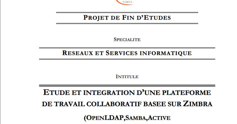 pdf  exemple rapport de pfe iset etude et integration d u2019une plateforme de travail collaboratif