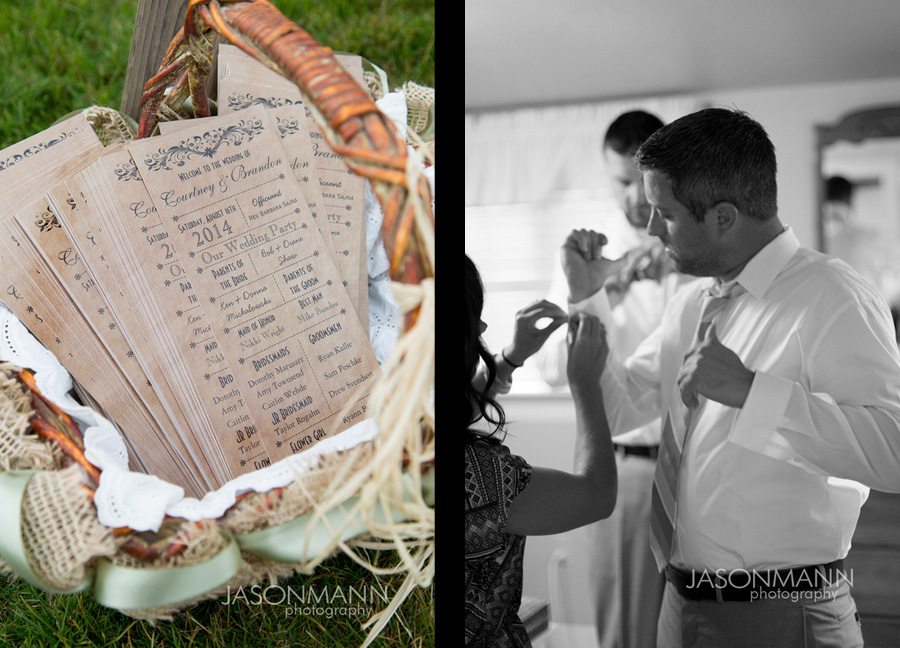 Rustic wedding ceremony programs. Groom getting dressed. Door County wedding. Photo by Jason Mann Photography, 920-246-8106, www.jmannphoto.com