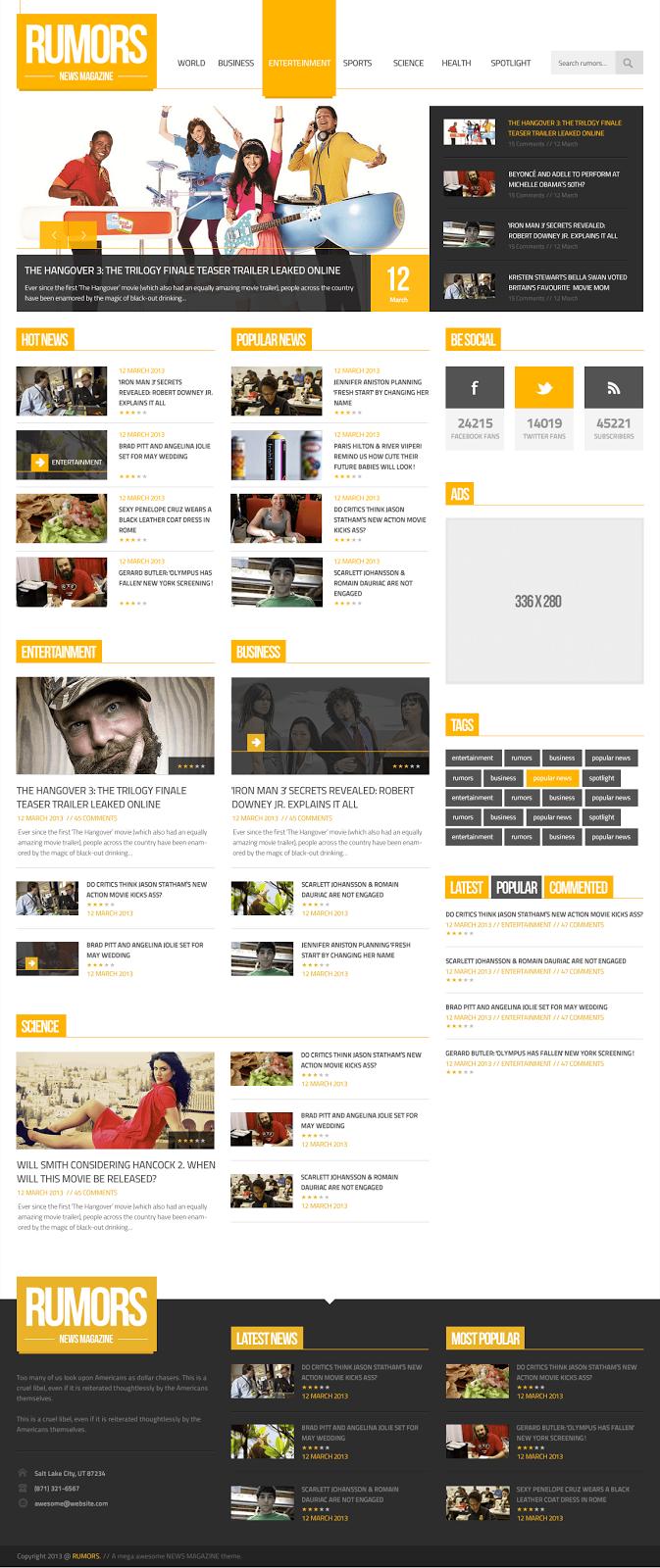 Rumors Homepage Template PSD