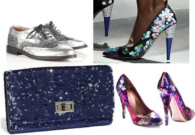 sequin shoes, sequin bag, sequin accessories,how to wear sequins