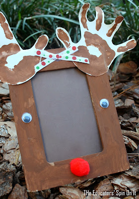 Christmas craft, reindeer picture frame
