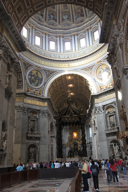 The view inside the St Peter's Basilica in Vatican City, Rome, Italy