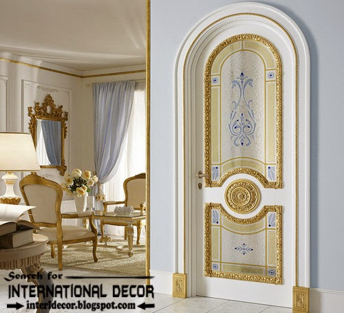Luxury Interior Doors For Classic Interior, Italian White Door With Glided  Decor