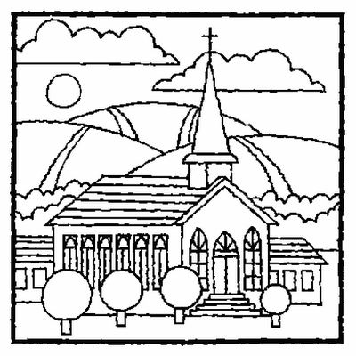 EASTER COLOURING COLORING PAGE OF A CHURCH
