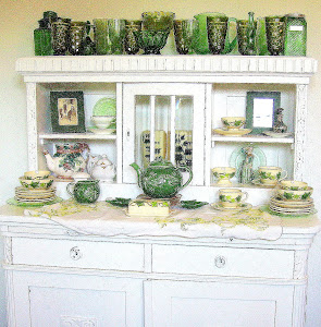 Dining Room - Old Buffet and Green Glass