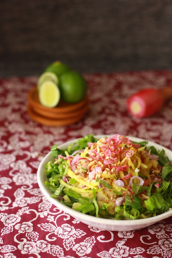 mango kerabu salad with asam laksa ingredients