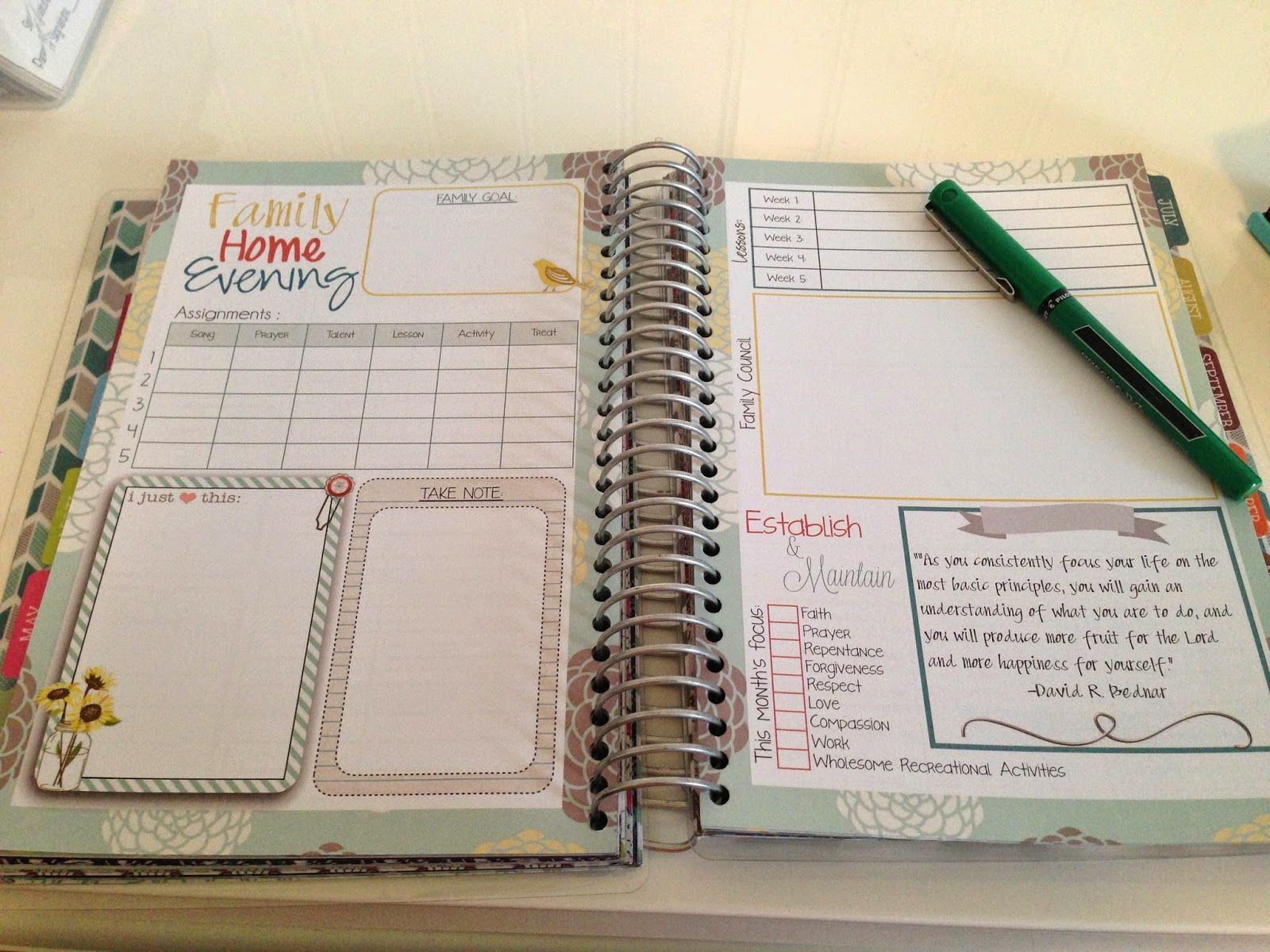 Family Home Evening Planner