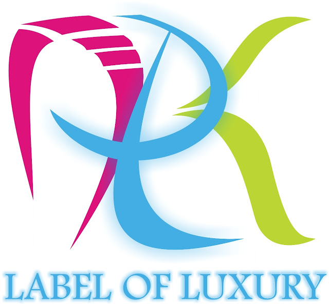 Label luxury logo design template in the name ARK in pink light blue bright green colors
