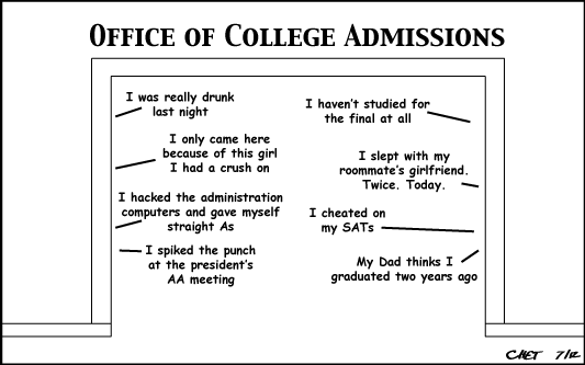 Writing college admission essay joke