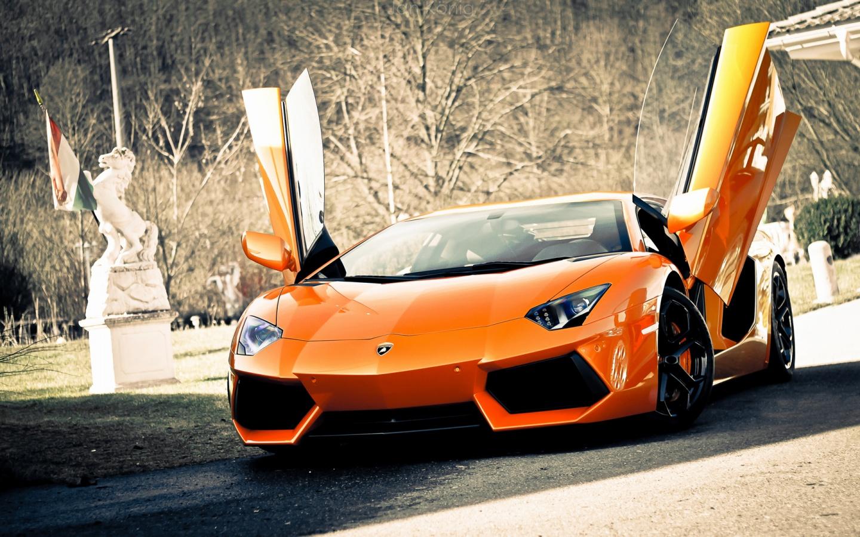 Orange Lamborghini Aventador   HD Wallpapers