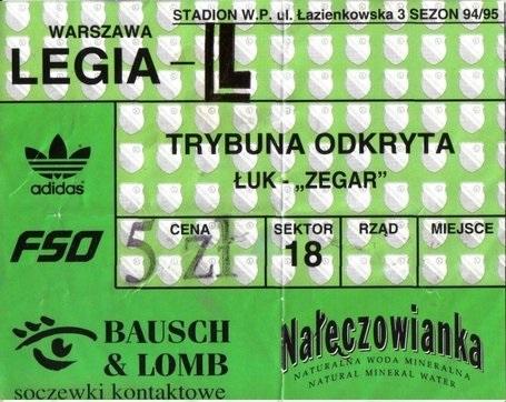 Bilet z meczu Legia - Widzew z 1996 r.