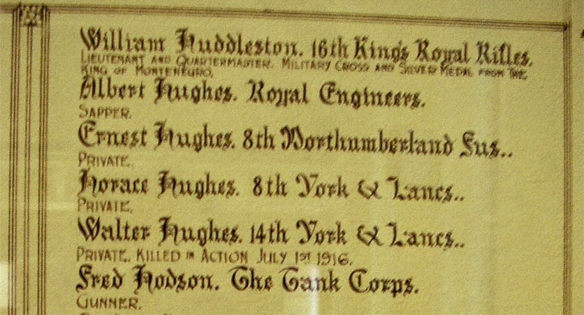 Just six of the names on the Roll of Honour - Huddleston, Hughes x4 (that must be another story) and Hodson.