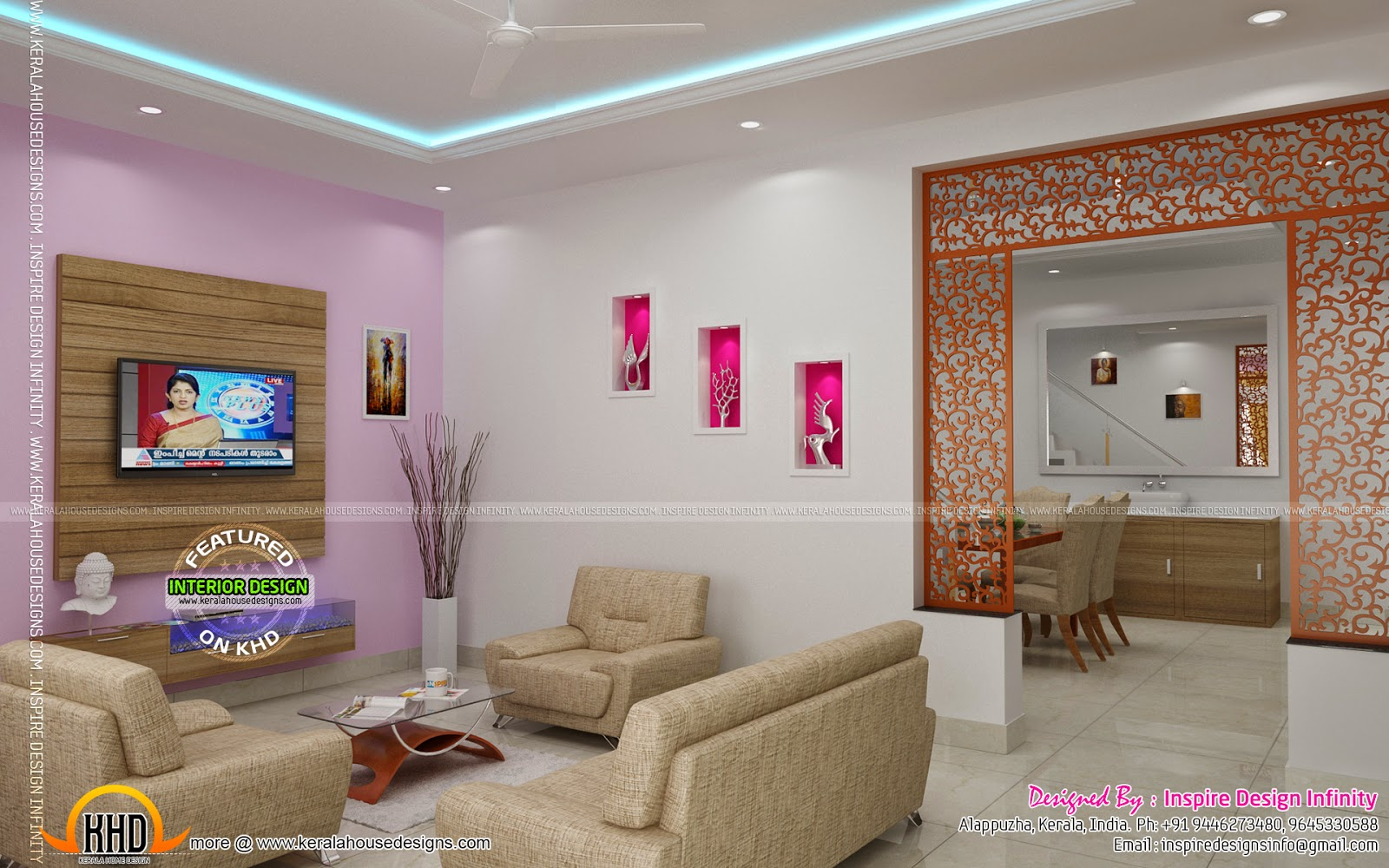 Interior designs by inspire design infinity kerala home for Kerala house living room interior design