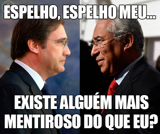 Fotos de Passos Coelho e António Costa Frente a Frente – Espelho, espelho meu… existe alguém mais mentiroso do que eu?