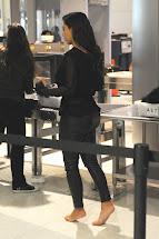 Kim Kardashian Barefoot at Airport