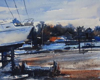 Watercolor painting of a boatyard on the Niagara River.