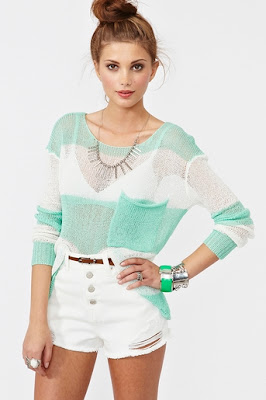 Mint and White Shoreline Knit Collection Sweater by Nasty Gal