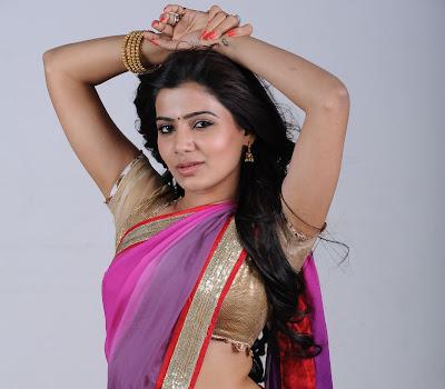 gorgeous Samantha ruth prabhu in purple saree latest photos in saree