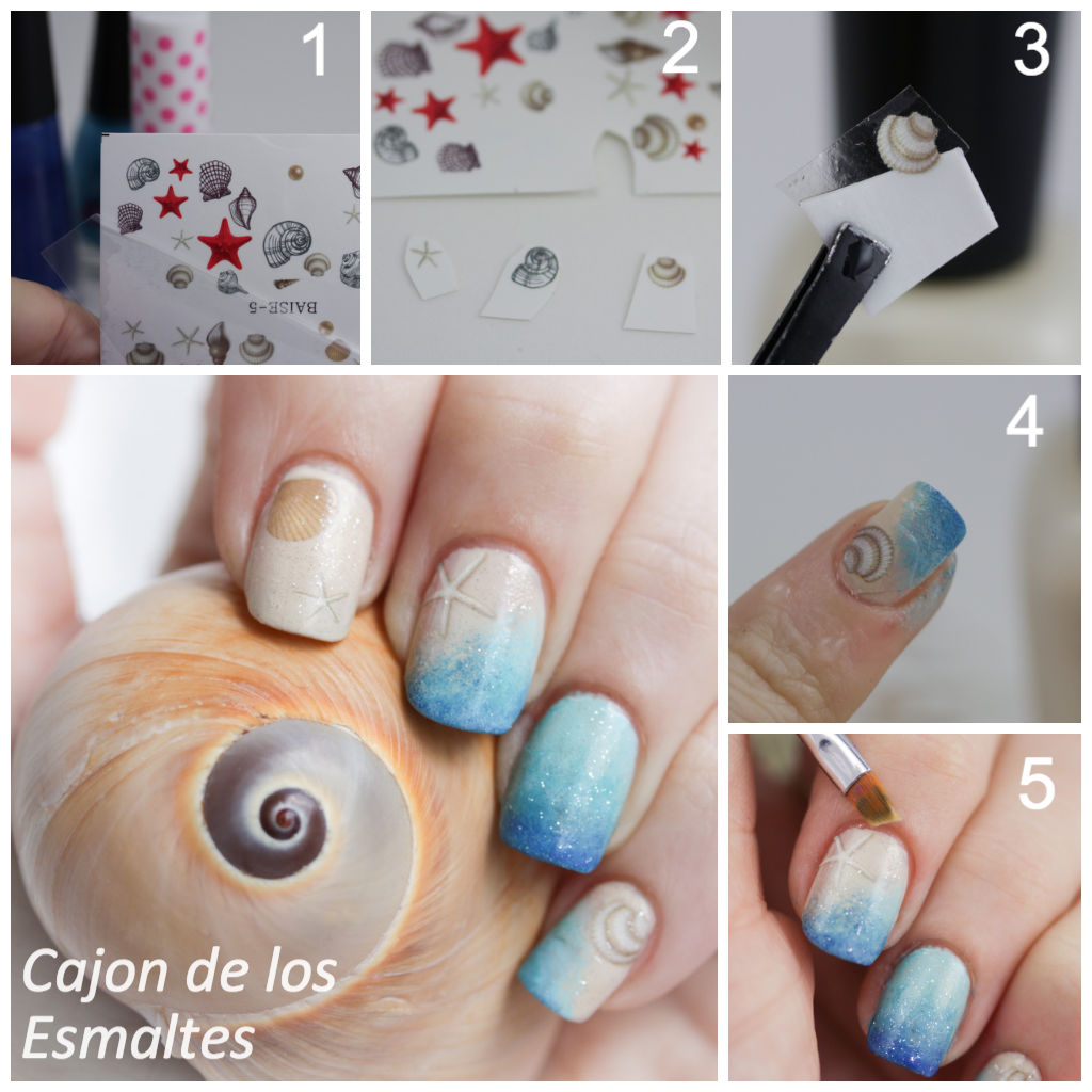 Tutorial - Summer nail art with water decals