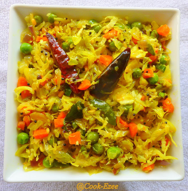 COOK-EZEE: Cabbage Thoran with Green Peas n Carrot/Cabbage Stir Fry ...