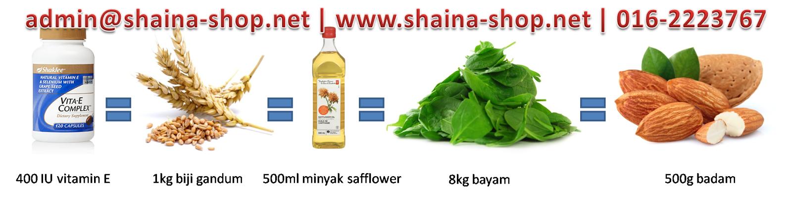 Khasiat 400 IU vitamin E untuk sel tubuh yang sihat melawan radikal bebas adalah bersamaan dengan 1kg biji gandum, 500ml minyak safflower, 8kg bayam dan 500g badam.