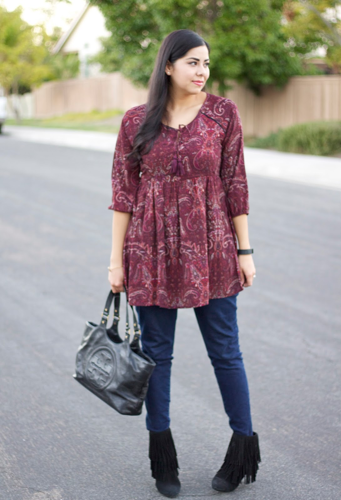 peasant tunic, fall outfit 2015, jeans and paisley tunic, peasant top and jeans