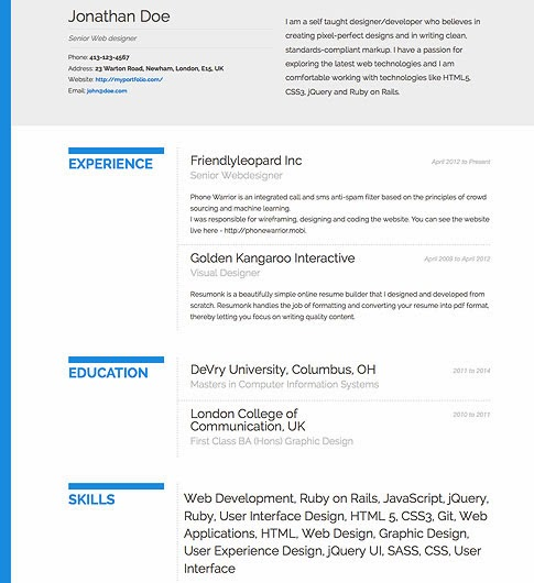it is essential that your resume be nicely formatted and easily readable resumonk offers a growing collection of beautiful creative and professional - View Resumes Free