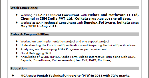 resume resume sample of sap technical consultant in sap abap