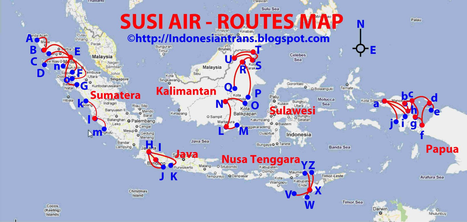 routes map: Susi Air routes map