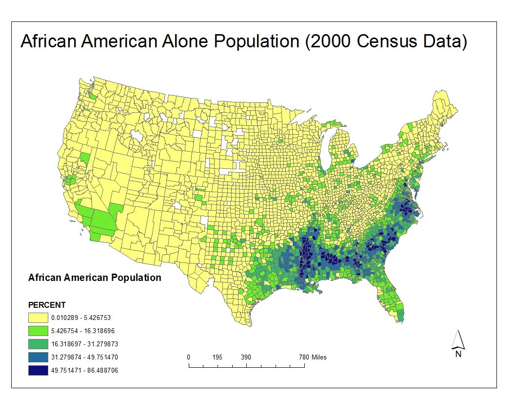 this census map shows that the majority of the african american population lives in the south east continental us they live more inland than in along the