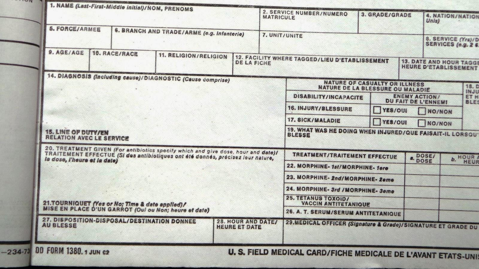 webbingbabel  us army    usmc field medical cards