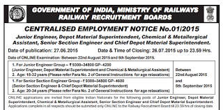 Railway Recruitment Board(RRB)JE-SSE Recruitment 2015 CEN 01/2015|