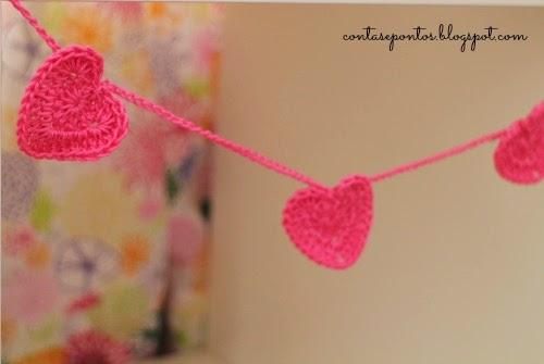 corações em crochet - s. valentim