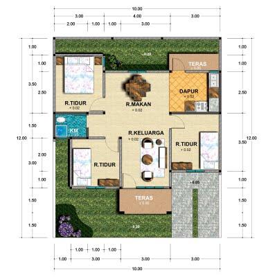 Berikut contoh gambar denah rumah minimalis :